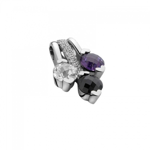 Zinzi Purple, Black and White Zirconia Pendant