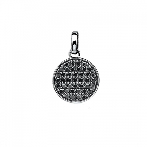 Zinzi Black Zirconia Coin Pendant