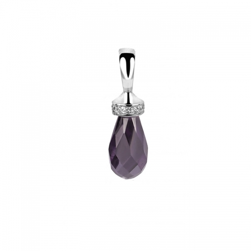 Zinzi Silver Purple Icicle Pendant
