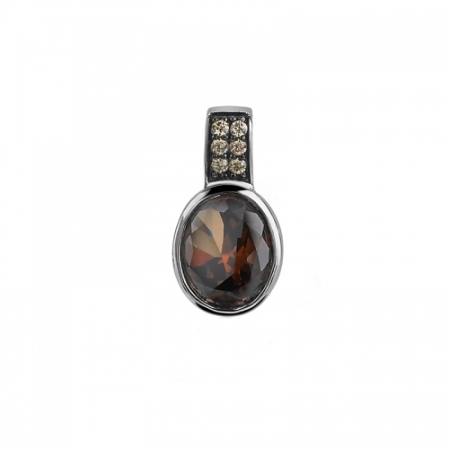 Zinzi Silver Oval Pendant with Brown Zirconia