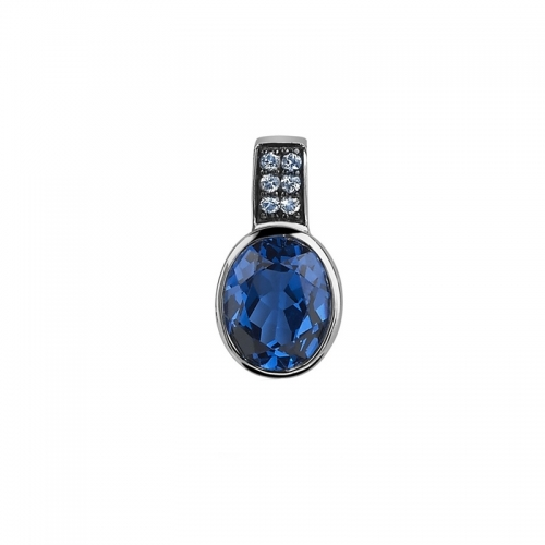 Zinzi Silver Oval Pendant with Blue Zirconia