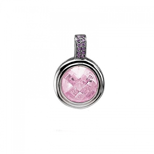 Zinzi Silver and Rose Pink Pendant