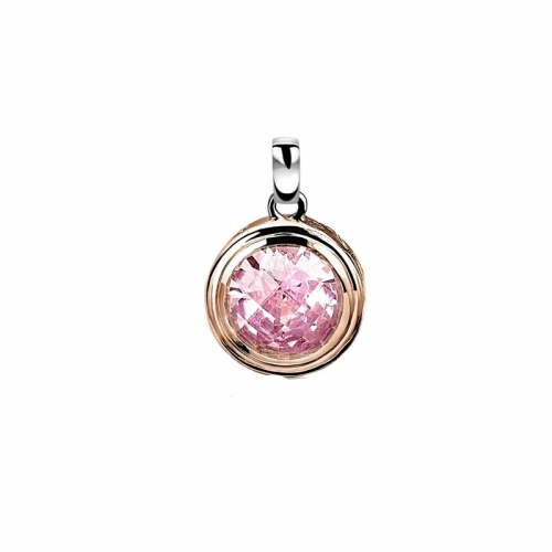 Zinzi Rose Gold Plated Pendant with Rose Pink Zirconia