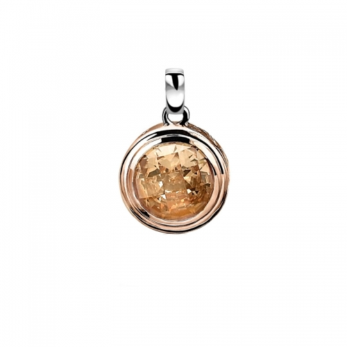 Zinzi Rose Gold Plated Pendant with Champagne Zirconia