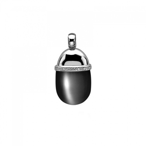 Zinzi Silver and Black Cat's Eye Drop Pendant