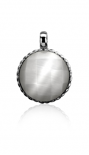 Zinzi Silver and Dark Grey Cat's Eye Round Pendant
