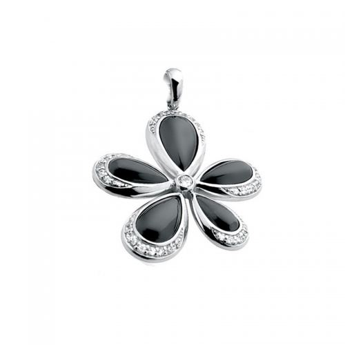 Zinzi Black and Silver Flower Pendant