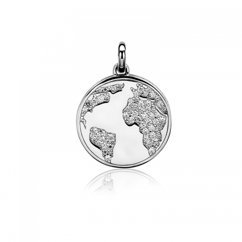 Zinzi Silver Save The World Pendant