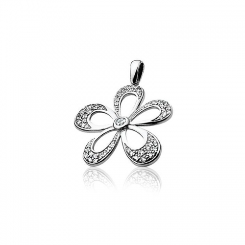 Zinzi Silver and White Zirconia Flower Pendant