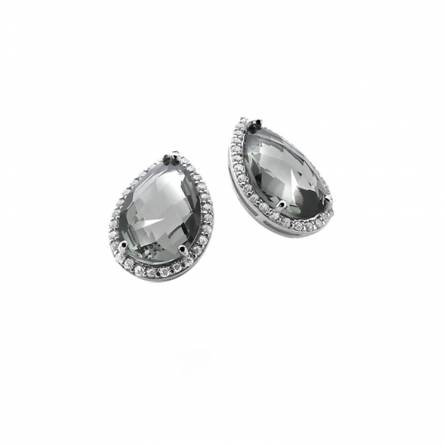 Zinzi Silver Earring Studs With Teardrop Grey Zirconia
