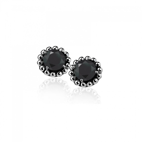 Zinzi Silver Earrings With Black Zirconia