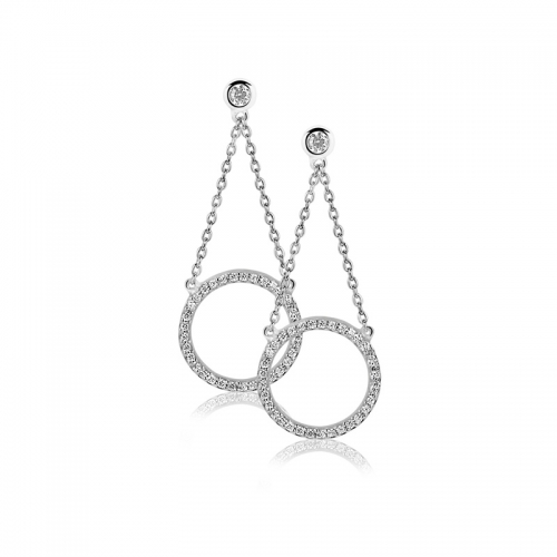 Zinzi Silver Earring with CZ Circle Dangle