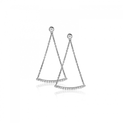 Zinzi Silver Earring with CZ Bar Dangle