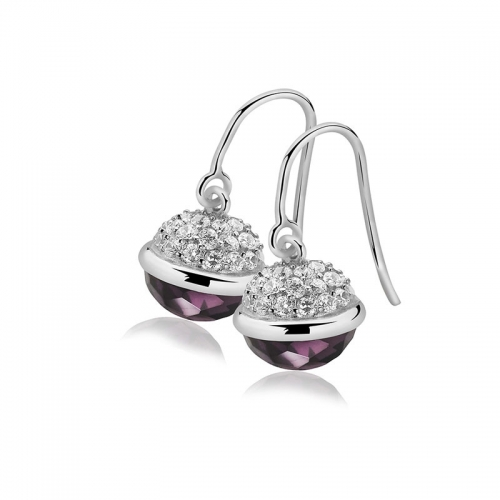 Zinzi Silver Dangle Earrings with Purple Sphere Drop