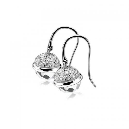 Zinzi Silver Dangle Earrings with White Sphere Drop