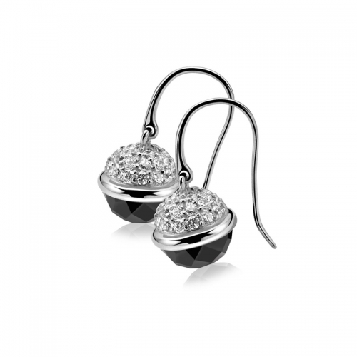Zinzi Silver Dangle Earrings with Black Sphere Drop