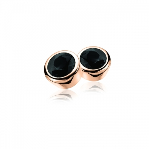 Zinzi Rose Gold Plated Stud Earrings with Black Zirconia