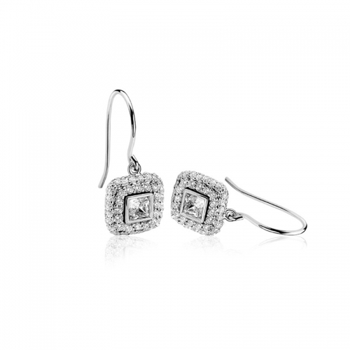 Zinzi Silver Square CZ Dangle Earrings
