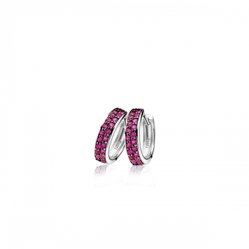 Zinzi Silver Hoop Earrings with Pink Zirconias