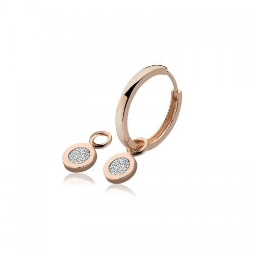 Zinzi Zinzi Rose Gold Plated Earring Pendants With White Zirconias