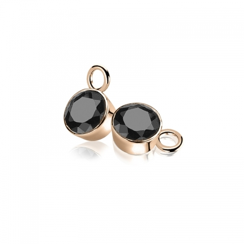 Zinzi Rose Gold Plated Earring Pendants with Black Zirconias