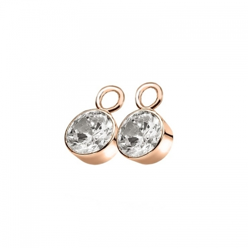 Zinzi Rose Gold Plated Earring Pendants with White Zirconias