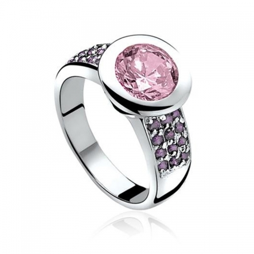 Zinzi Silver Ring With Pink CZ