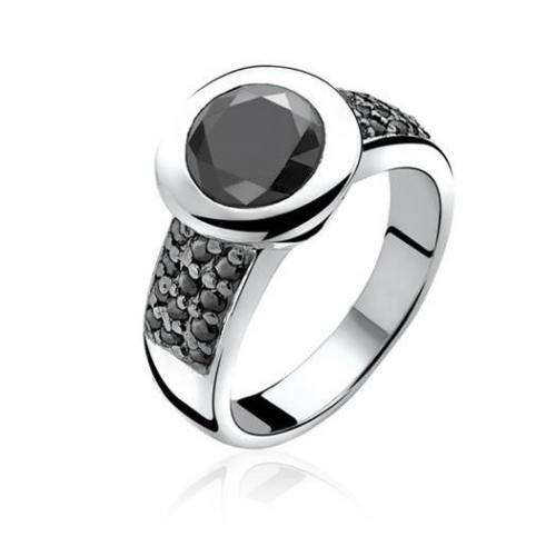 Zinzi Silver Ring with Black CZ