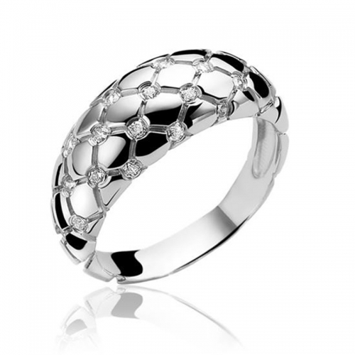 Zinzi Silver Ring with Engraved Pattern and White Zirconias