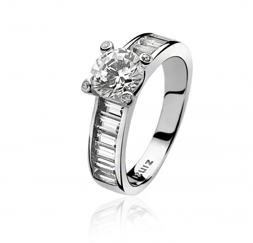 Zinzi Silver Ring with White Zirconias Set Band