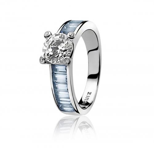 Zinzi Silver Ring with Blue Zirconia Set Band