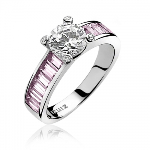 Zinzi Silver Ring with Pink Zirconia Set Band