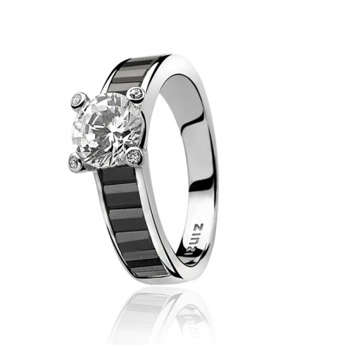 Zinzi Silver Ring with Black Zirconias Set Band