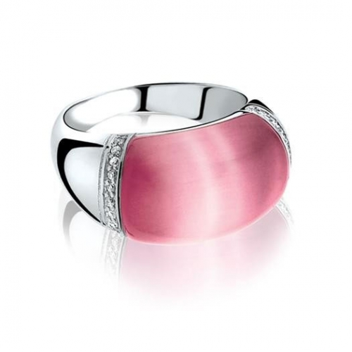 Zinzi Pink Cats Eye Ring