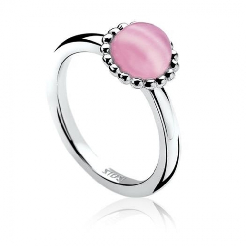 Zinzi Ring with Pink Cats Eye Centre Stone