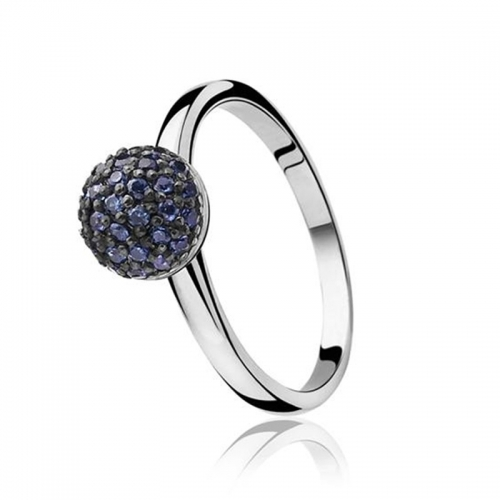 Zinzi Silver Ring with Blue and Black CZ Mount