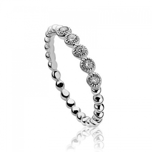 Zinzi Silver Bead Ring with White Zirconia