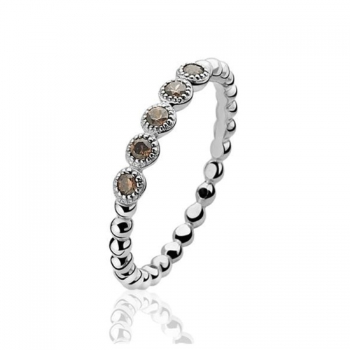 Zinzi Silver Bead Ring with Champagne Zirconia