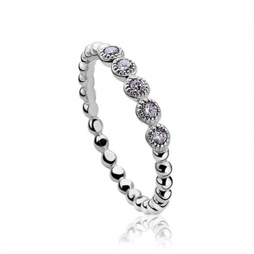 Zinzi Silver Bead Ring with Purple Zirconia