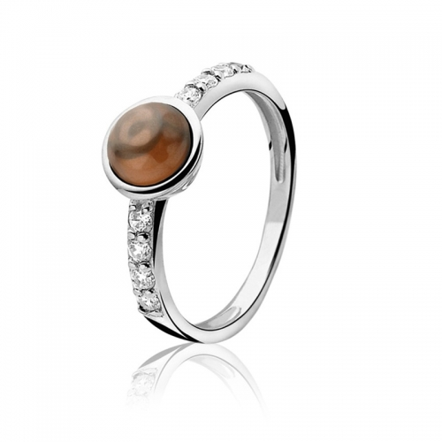 Zinzi Silver Ring with Round Brown Zirconia