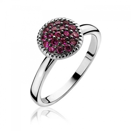 Zinzi Silver Ring with Pink Zirconia CZ Mount