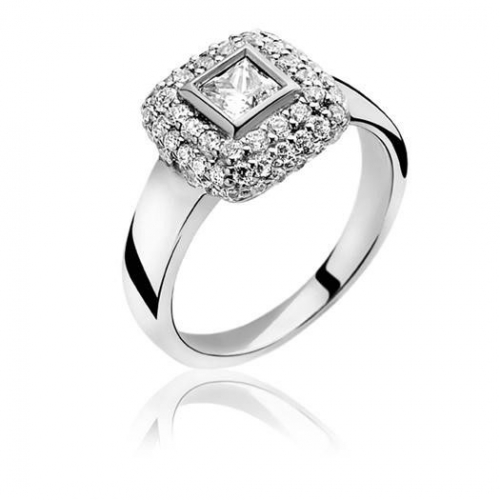 Zinzi Silver Ring with Square CZ Mount