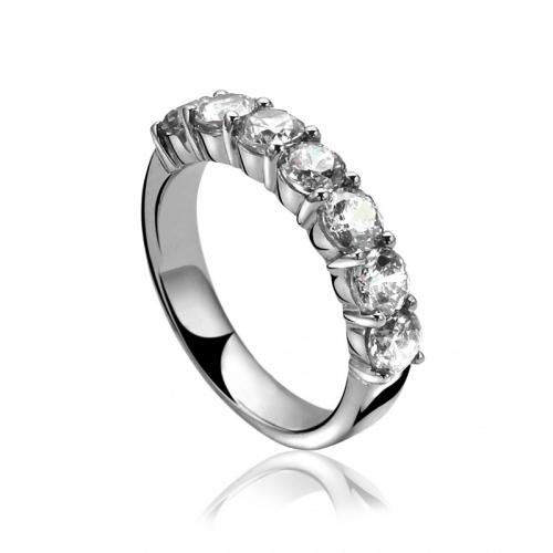 Zinzi White CZ Silver Ring