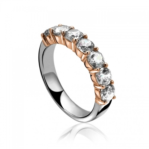 Zinzi White CZ Set Silver and Rose Gold Ring
