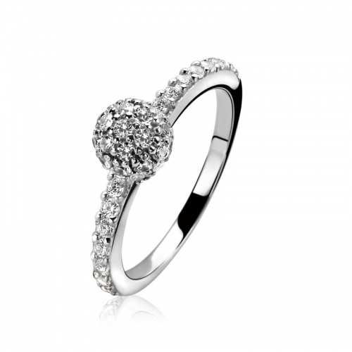 Zinzi White CZ Sphere Mount Ring