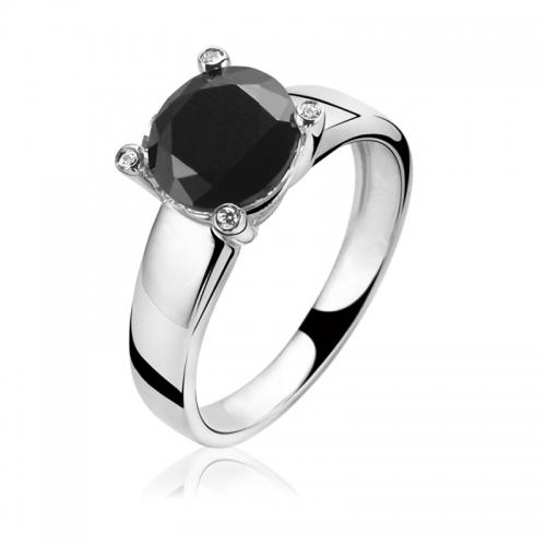 Zinzi Classic Black CZ Ring