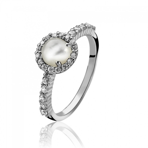 Zinzi White Cabochon Cut Pearl Ring