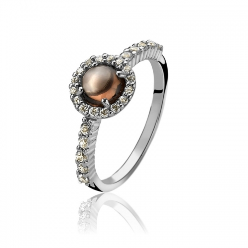 Zinzi Brown Cabochon Cut Pearl Ring