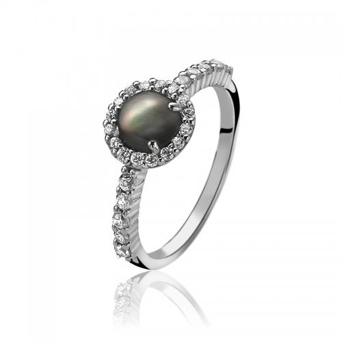 Zinzi Black Cabochon Cut Pearl Ring
