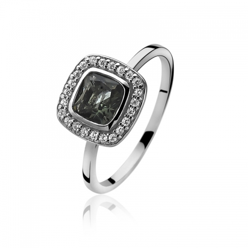 Zinzi Dark Grey Square Set Ring